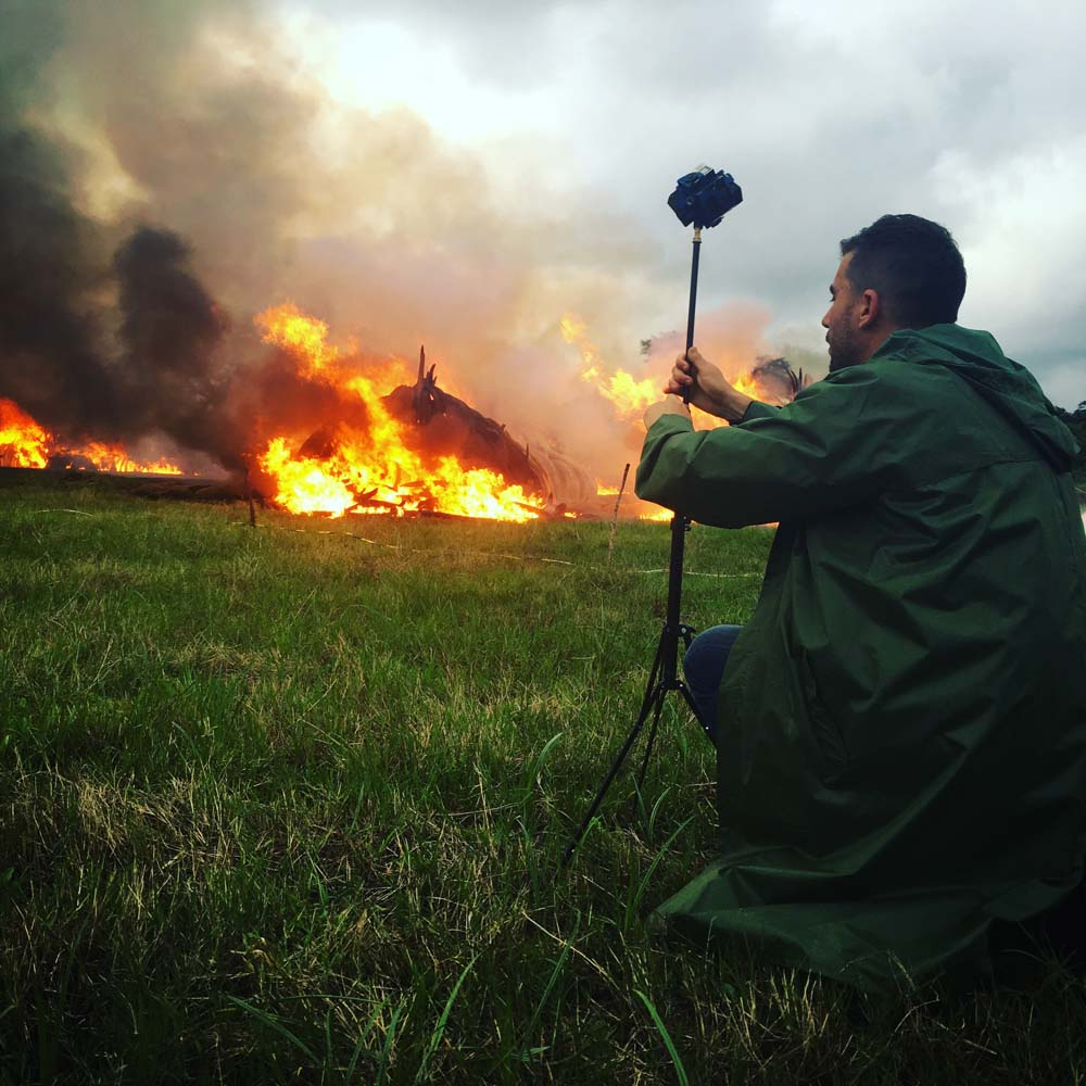 Bryn Mooser shooting the Ivory burn in VR in Nairobi, Kenya