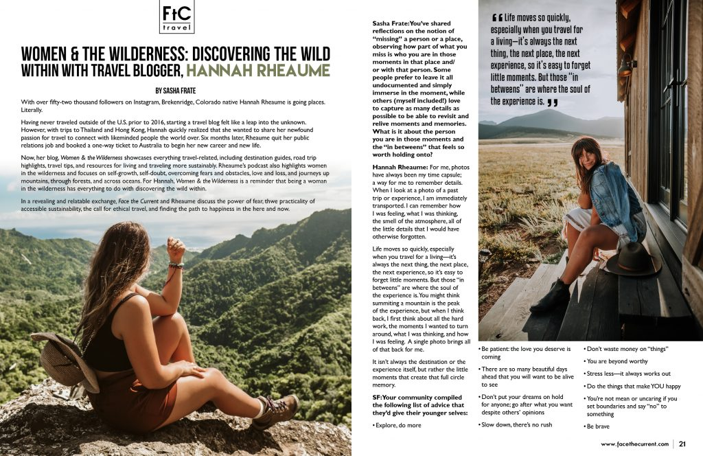 hannah rheaume intro spread sitting on top of mountains and forest