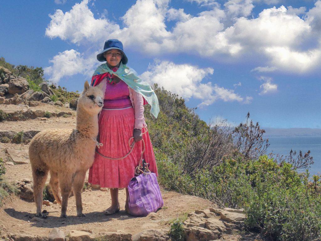 Lake Titicaca island local of Isla del Sol Bolivia