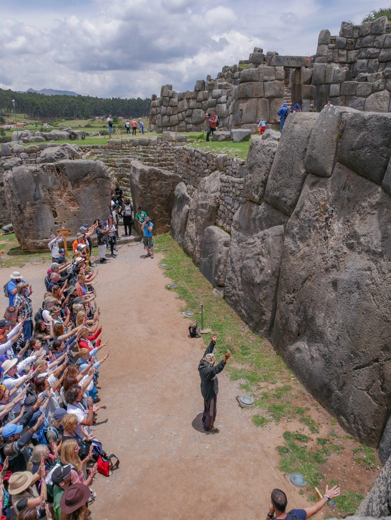 Resonance Science Foundation with local wisdom keeper at Sacsayhuaman Peru